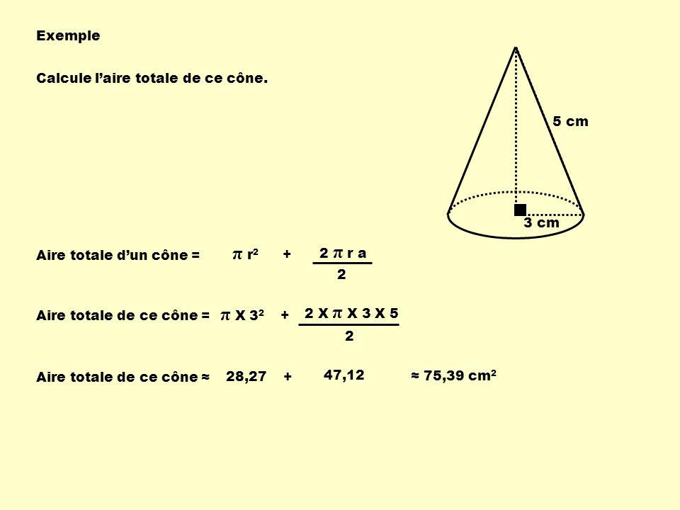 π r2 π X 32 Exemple 3 cm 5 cm Calcule l'aire totale de ce cône.