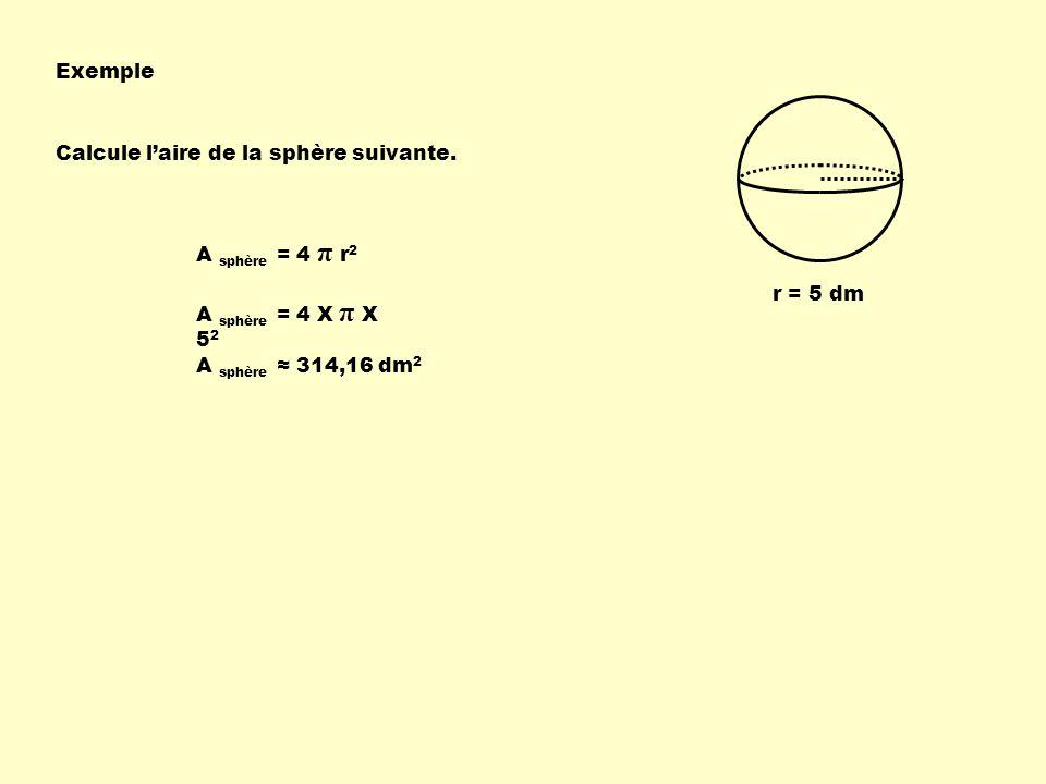 Exemple Calcule l'aire de la sphère suivante. A sphère = 4 π r2. r = 5 dm. A sphère = 4 X π X 52.