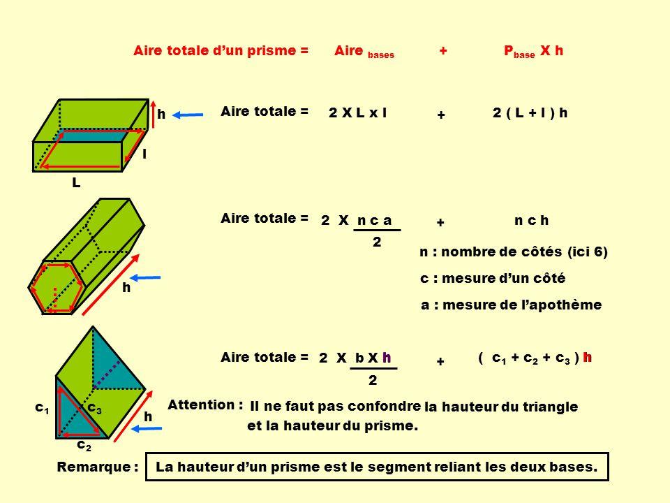 Aire totale d'un prisme = Aire bases + Pbase X h