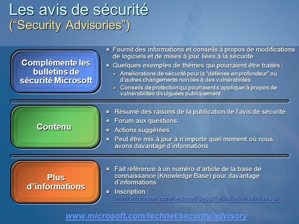 Les avis de sécurité ( Security Advisories )