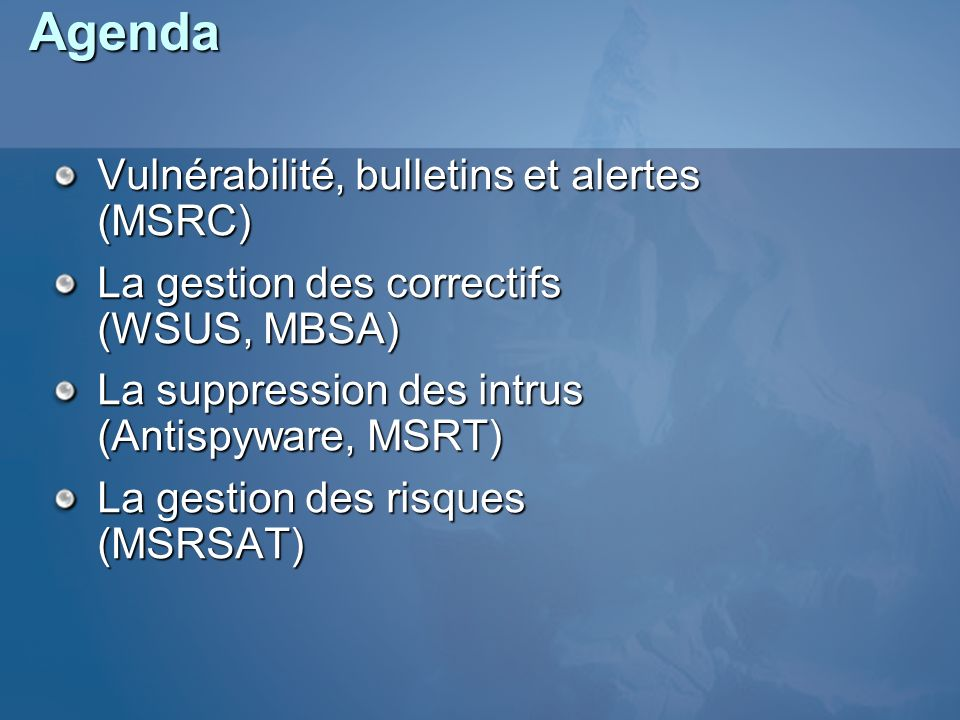Agenda Vulnérabilité, bulletins et alertes (MSRC)