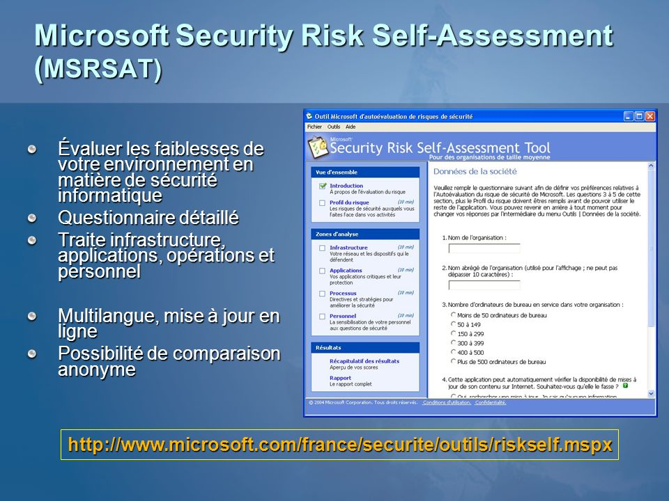 Microsoft Security Risk Self-Assessment (MSRSAT)