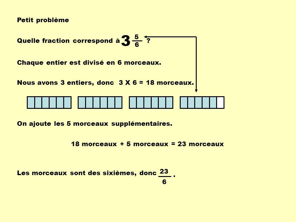 3 Petit problème 5 Quelle fraction correspond à 6