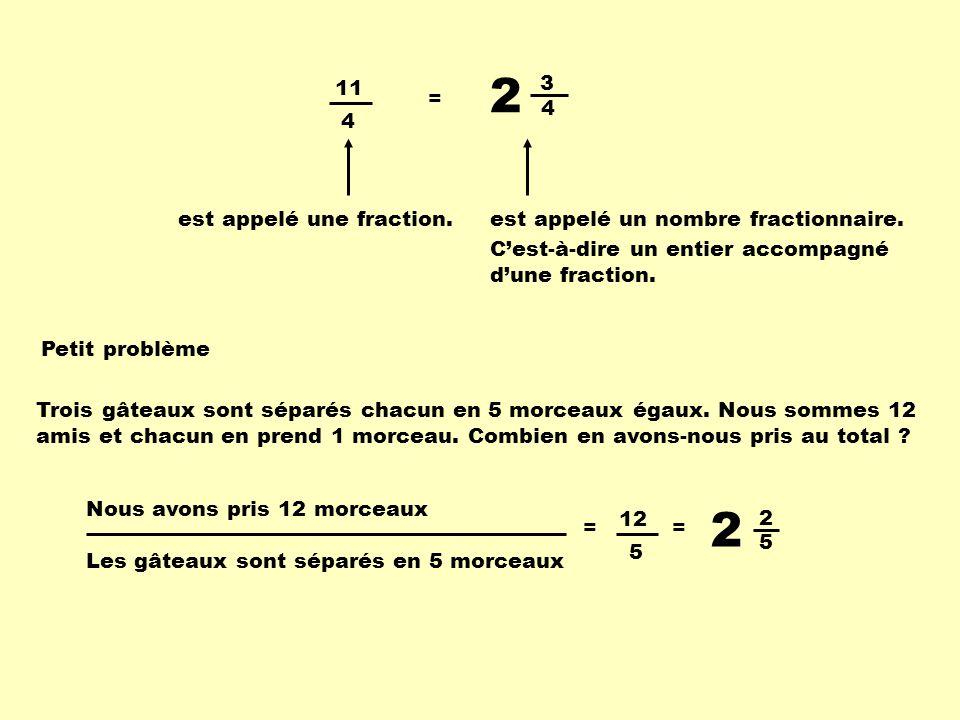 2 2 4 3 11 4 = est appelé une fraction.