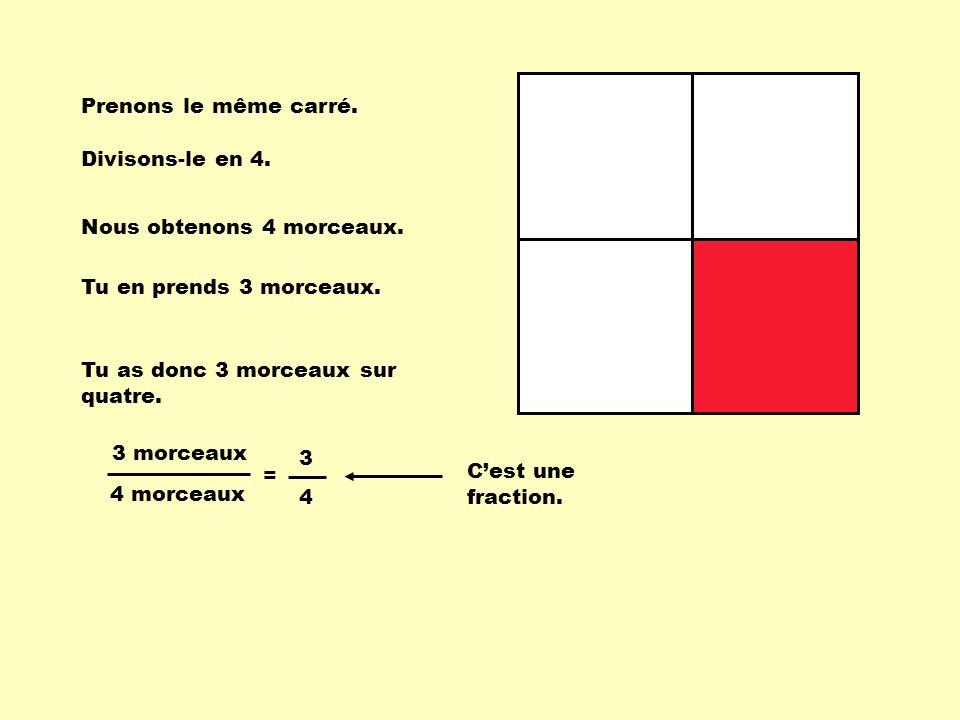 Prenons le même carré. Divisons-le en 4. Nous obtenons 4 morceaux. Tu en prends 3 morceaux. Tu as donc 3 morceaux sur quatre.