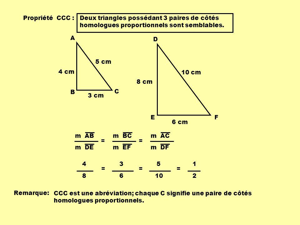 Propriété CCC : Deux triangles possédant 3 paires de côtés homologues proportionnels sont semblables.