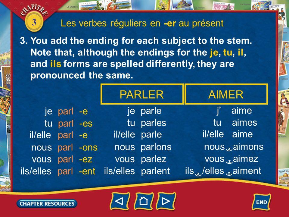 PARLER AIMER Les verbes réguliers en -er au présent