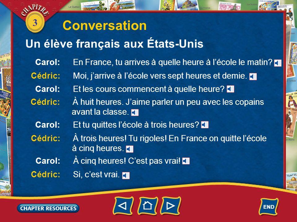 Conversation Un élève français aux États-Unis