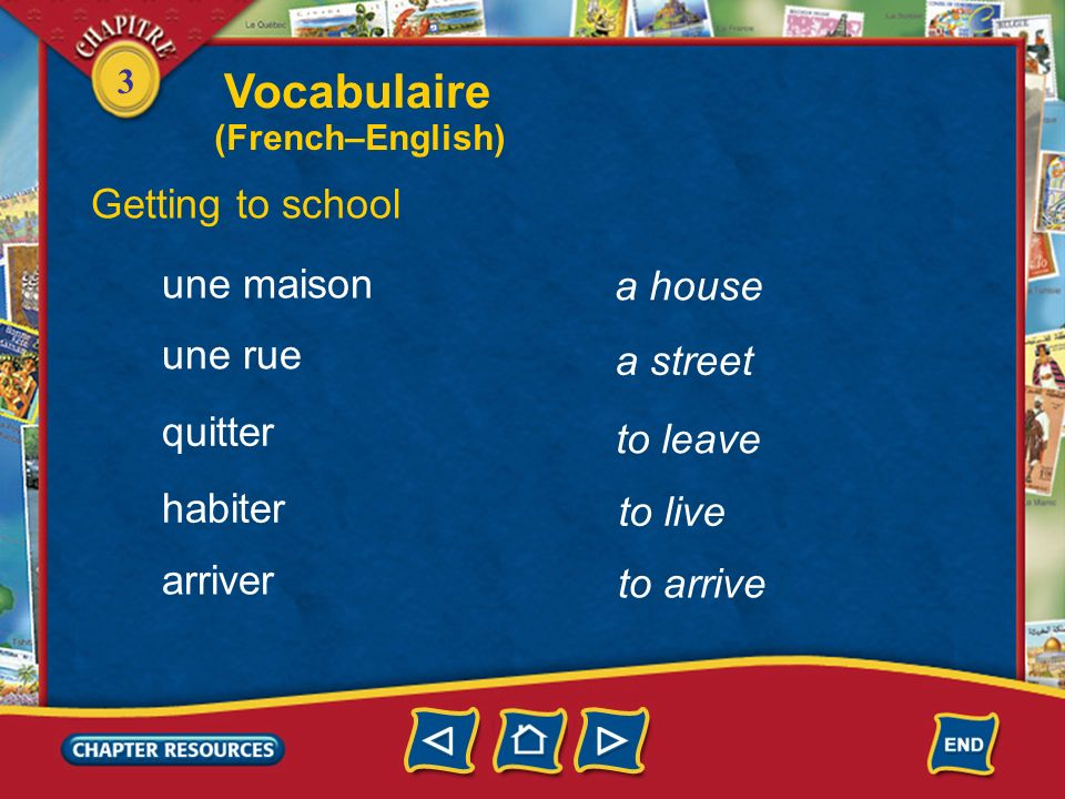 Vocabulaire Getting to school une maison a house une rue a street