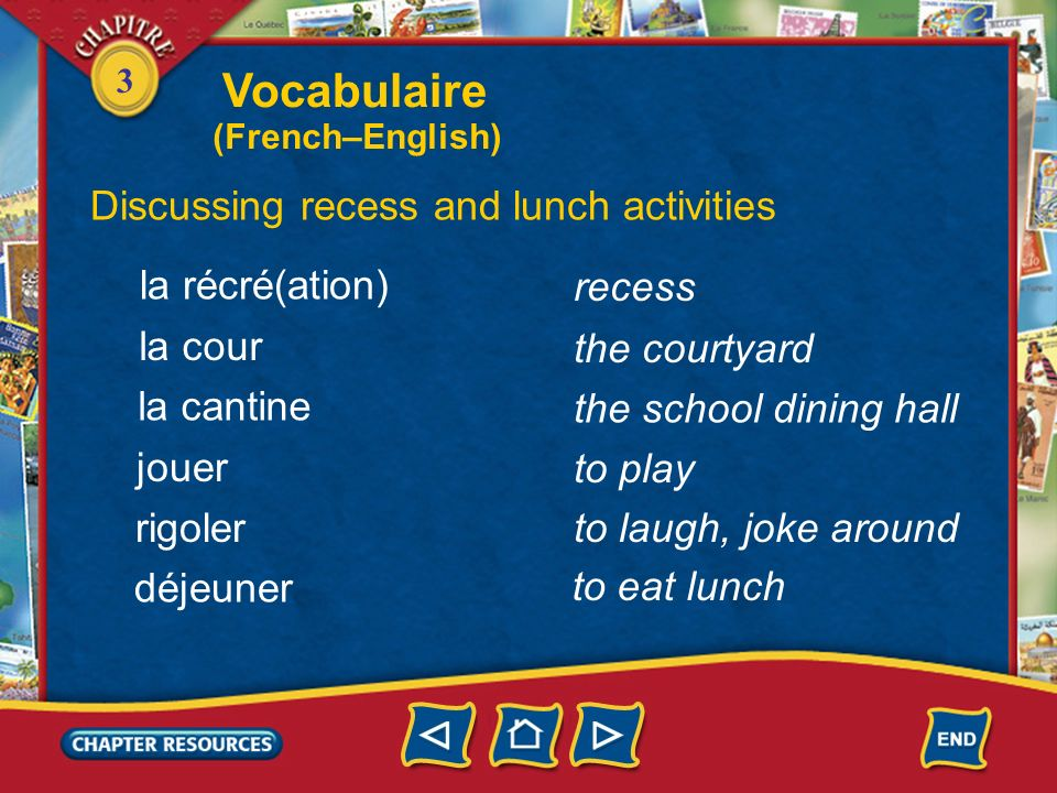 Vocabulaire Discussing recess and lunch activities la récré(ation)