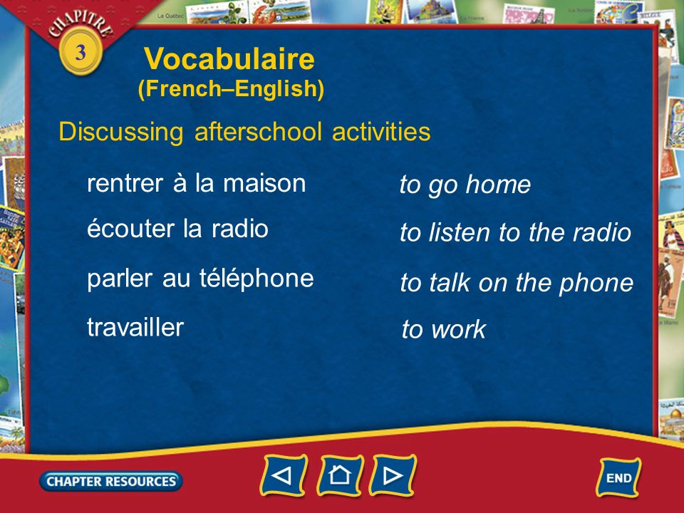 Vocabulaire Discussing afterschool activities rentrer à la maison