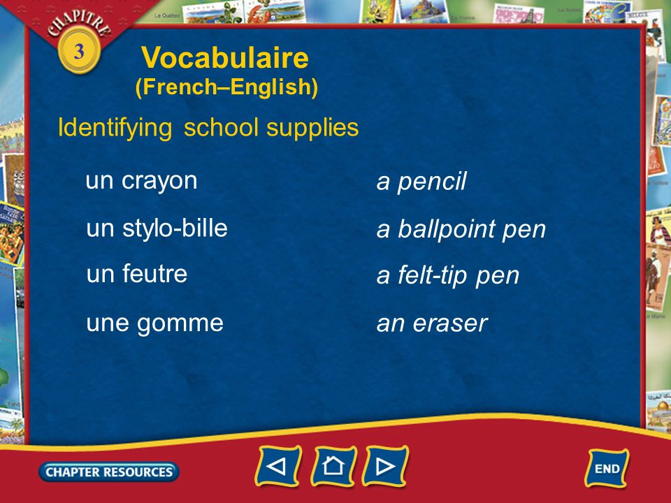 Vocabulaire Identifying school supplies un crayon a pencil