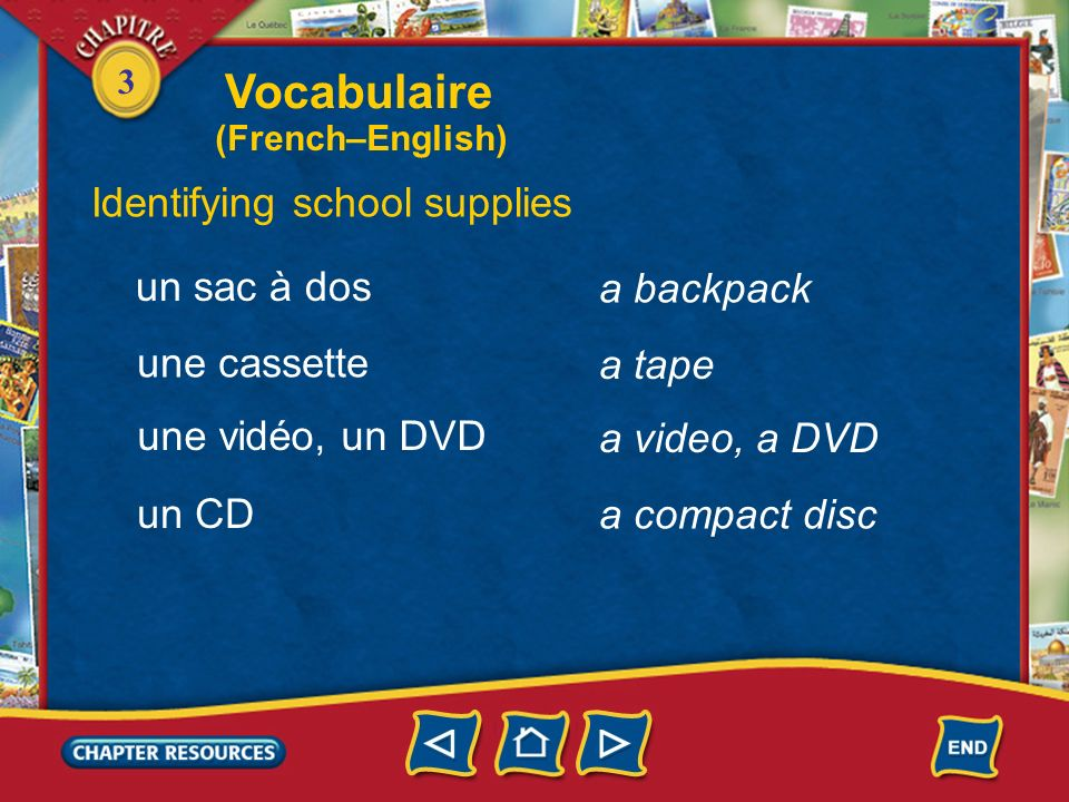Vocabulaire Identifying school supplies un sac à dos a backpack