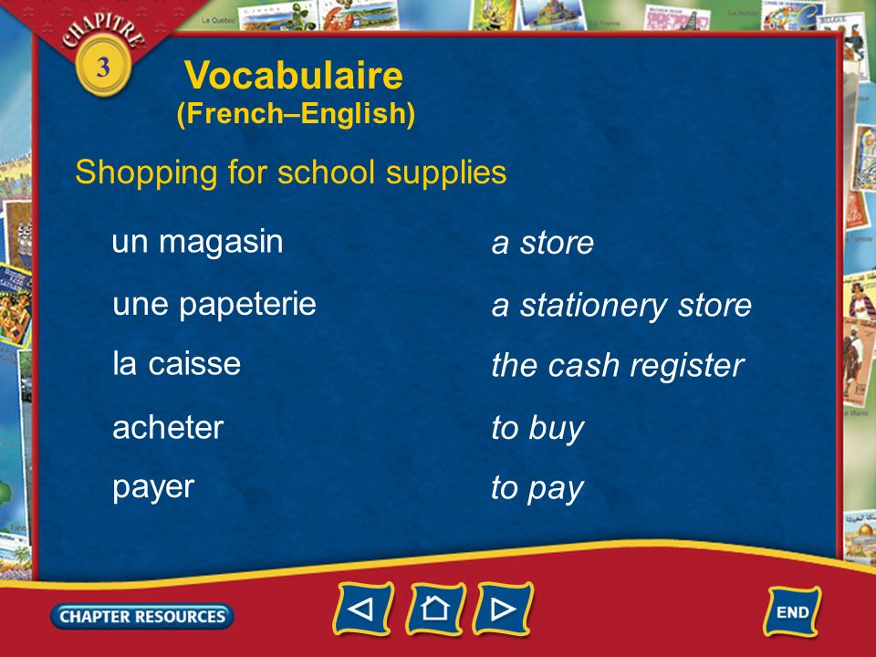 Vocabulaire Shopping for school supplies un magasin a store