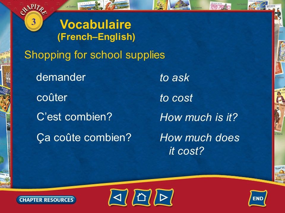 Vocabulaire Shopping for school supplies demander to ask coûter