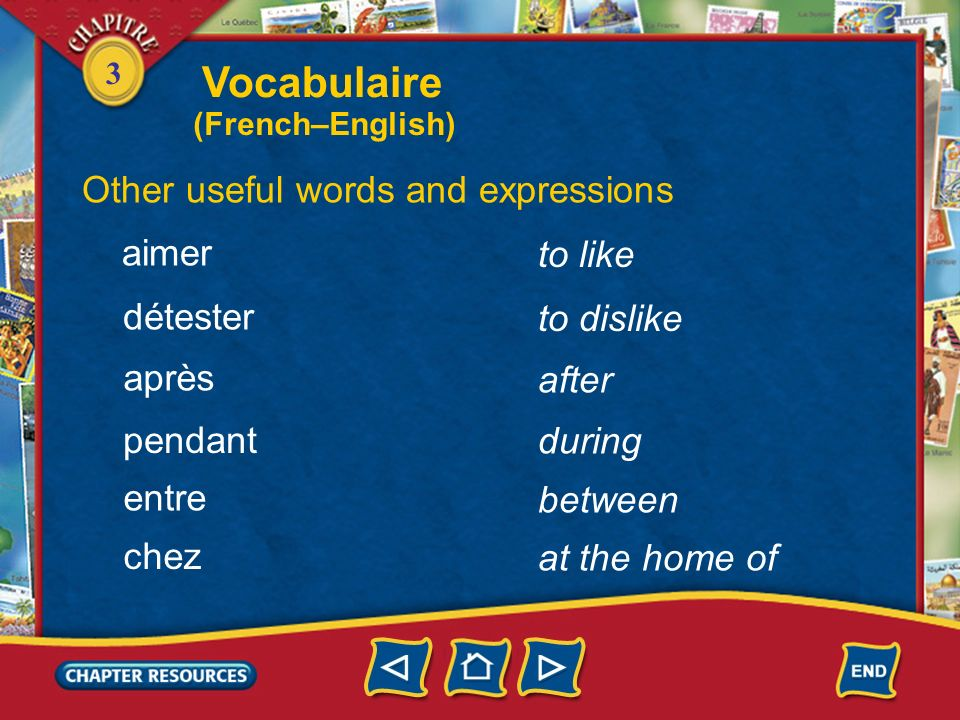 Vocabulaire Other useful words and expressions aimer to like détester
