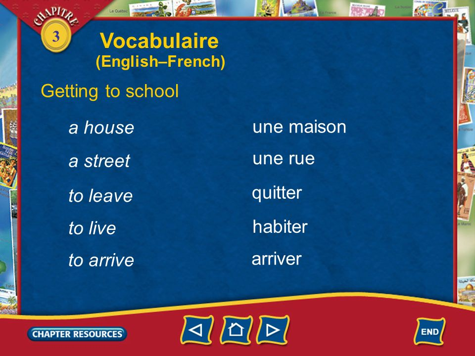 Vocabulaire Getting to school a house une maison une rue a street