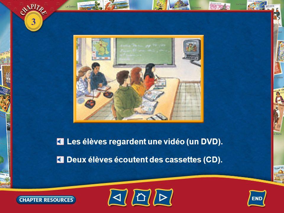 Les élèves regardent une vidéo (un DVD).