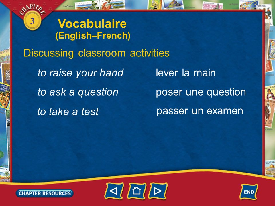 Vocabulaire Discussing classroom activities to raise your hand