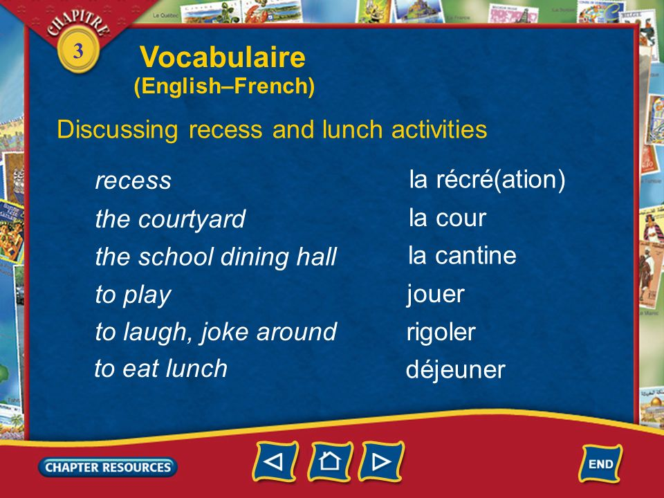 Vocabulaire Discussing recess and lunch activities recess