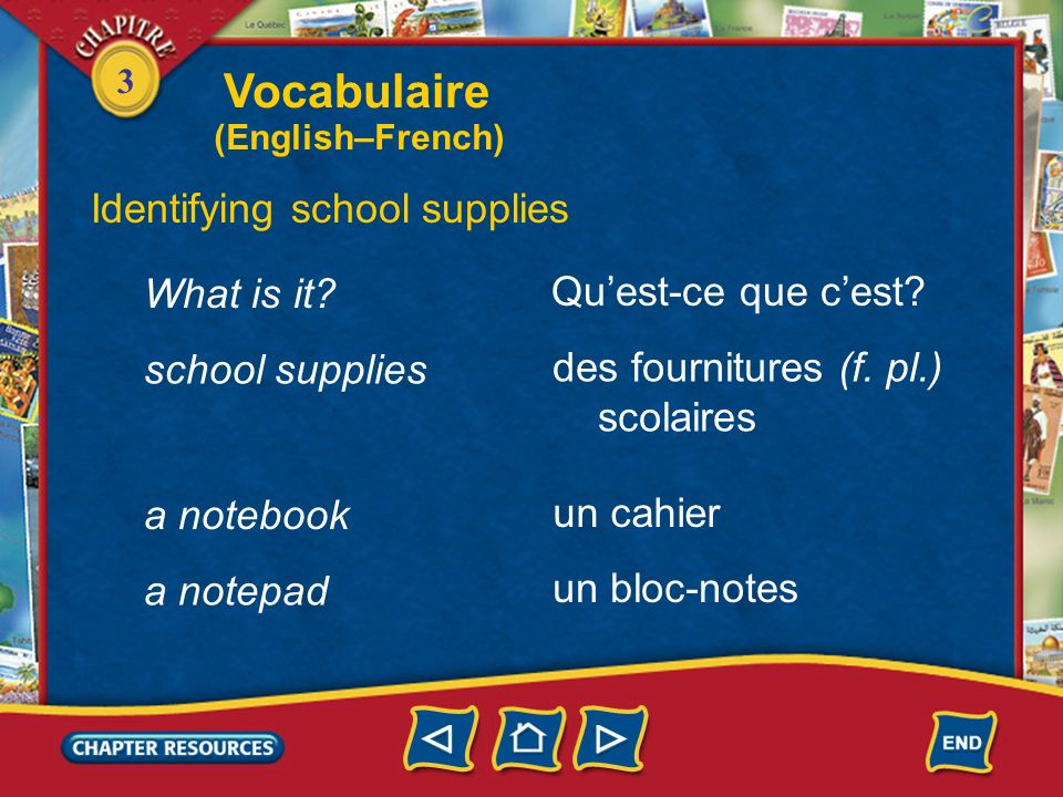 Vocabulaire Identifying school supplies What is it