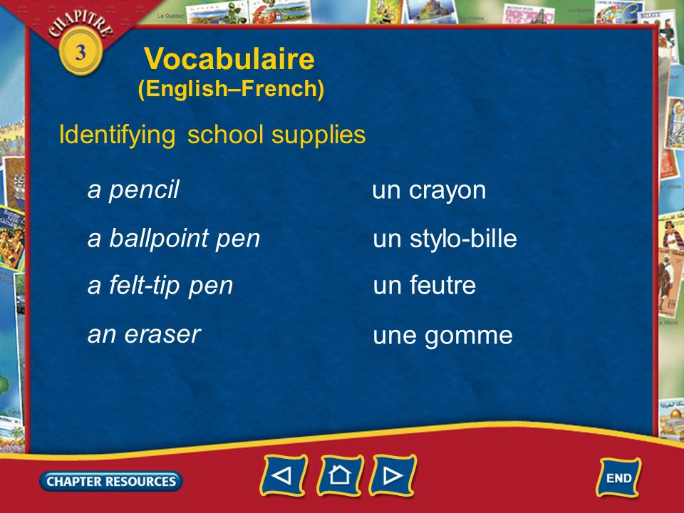 Vocabulaire Identifying school supplies a pencil un crayon