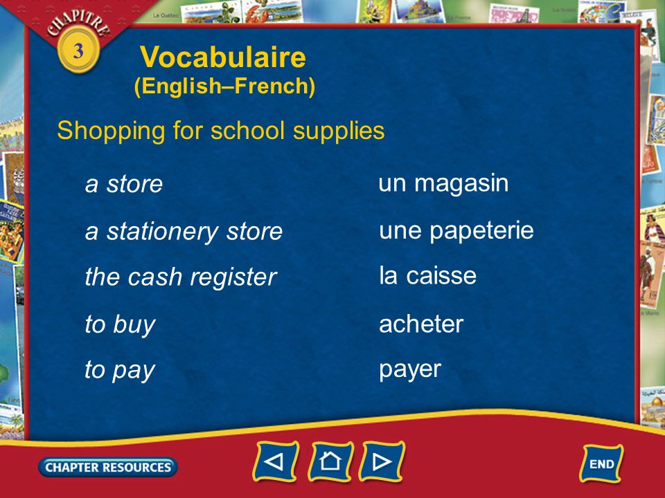 Vocabulaire Shopping for school supplies a store un magasin