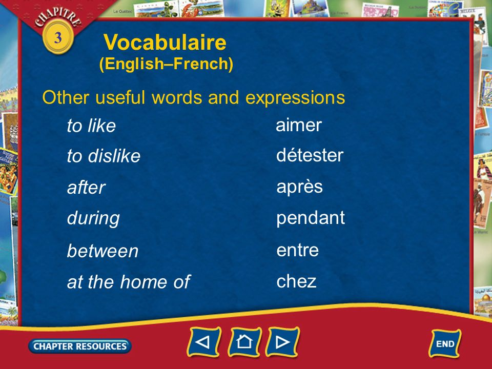 Vocabulaire Other useful words and expressions to like aimer