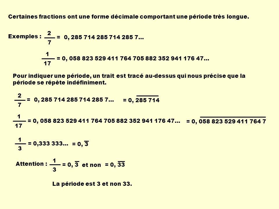 Certaines fractions ont une forme décimale comportant une période très longue.