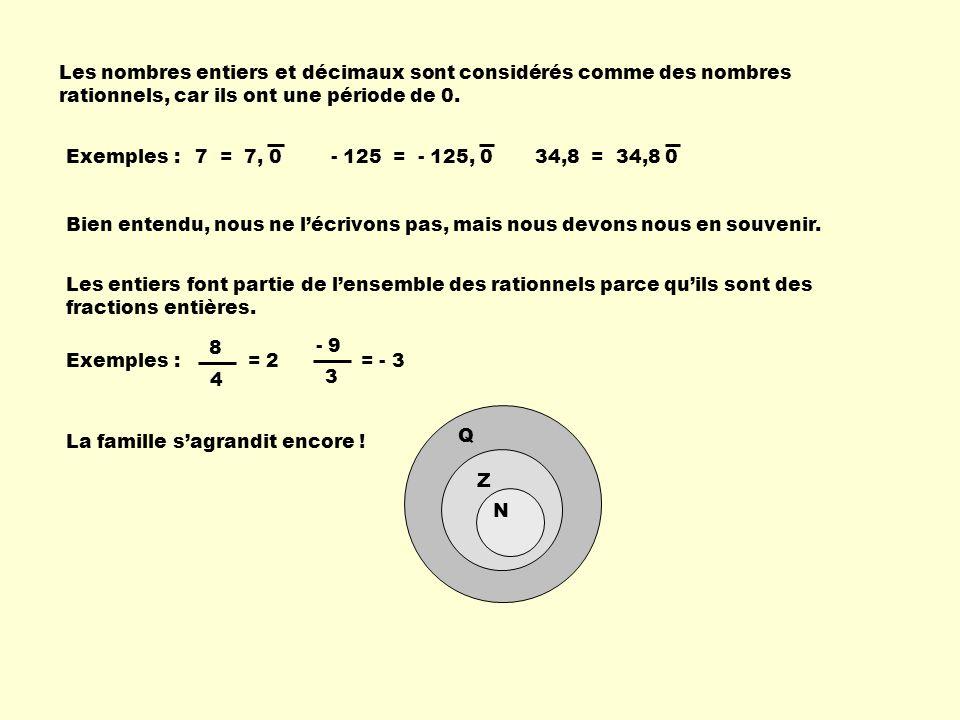 Les nombres entiers et décimaux sont considérés comme des nombres rationnels, car ils ont une période de 0.
