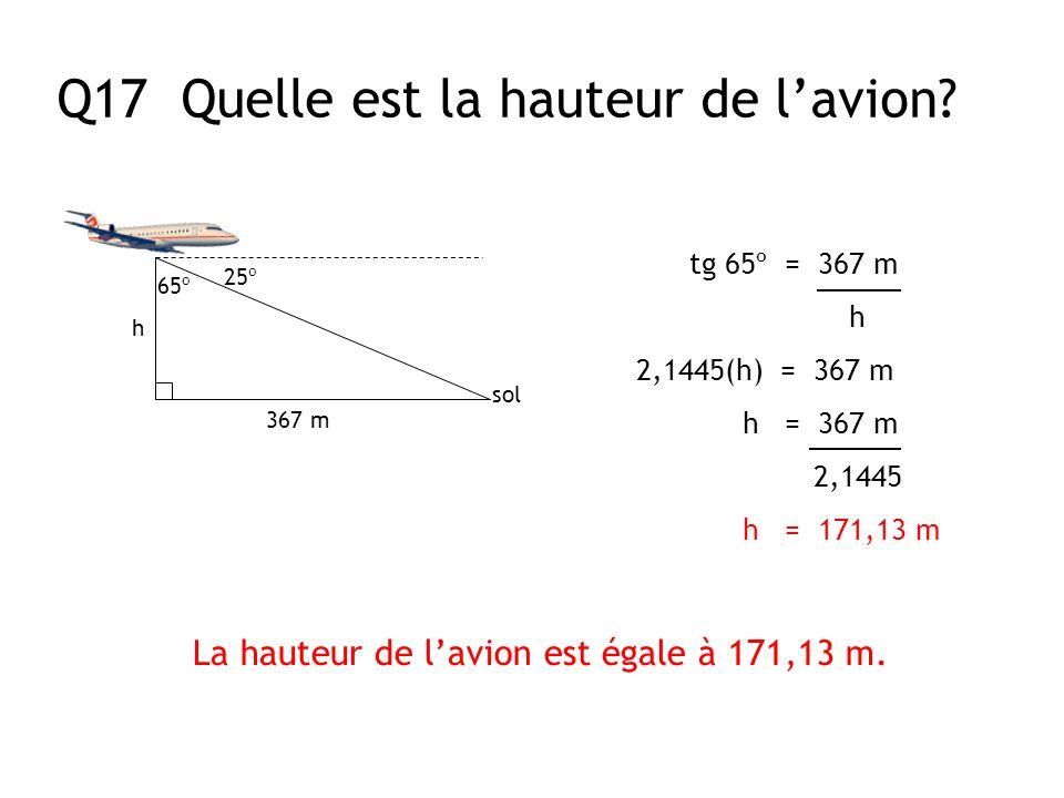 La hauteur de l'avion est égale à 171,13 m.