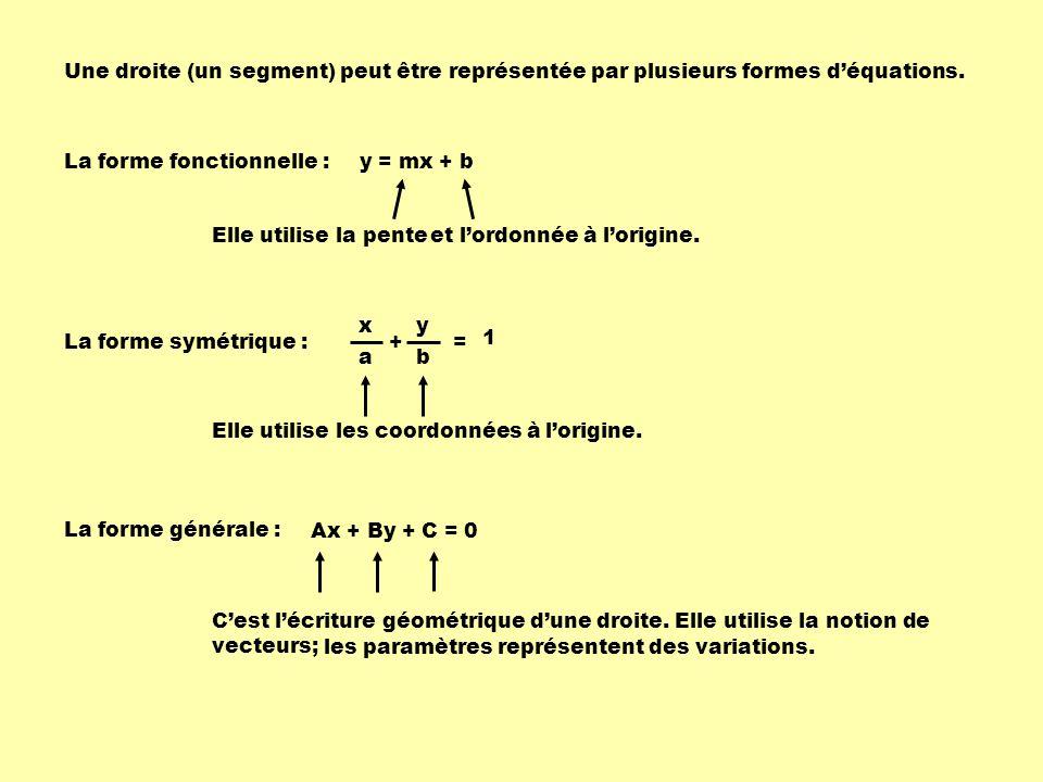 Une droite (un segment) peut être représentée par plusieurs formes d'équations.