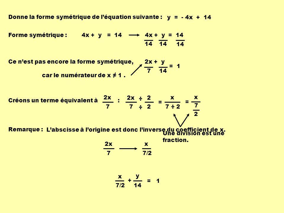 Donne la forme symétrique de l'équation suivante :