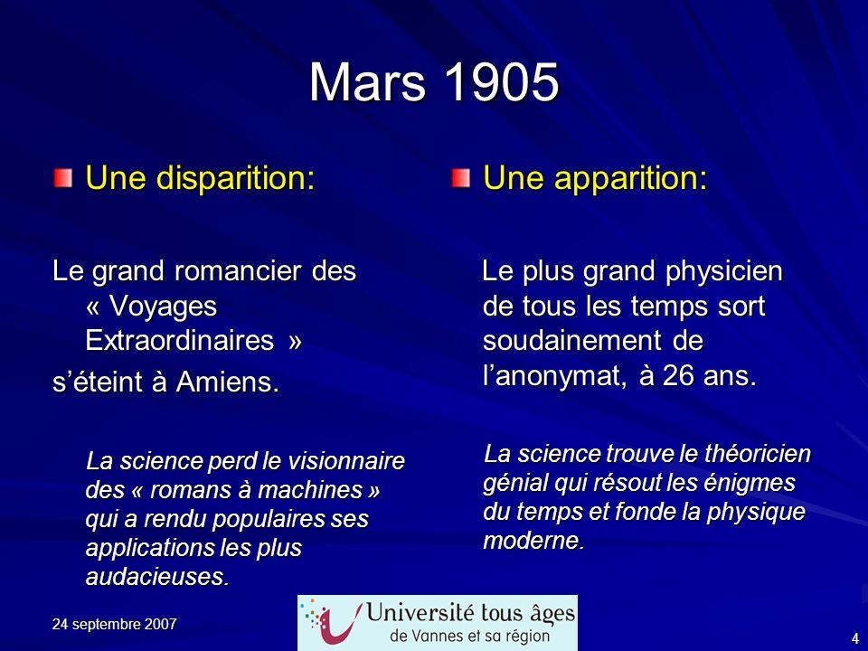 Mars 1905 Une disparition: Une apparition: