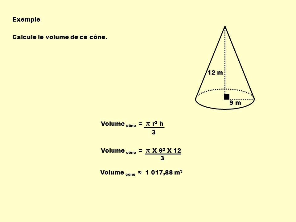 Exemple 9 m. 12 m. Calcule le volume de ce cône. Volume cône = π r2 h. 3. Volume cône = π X 92 X 12.