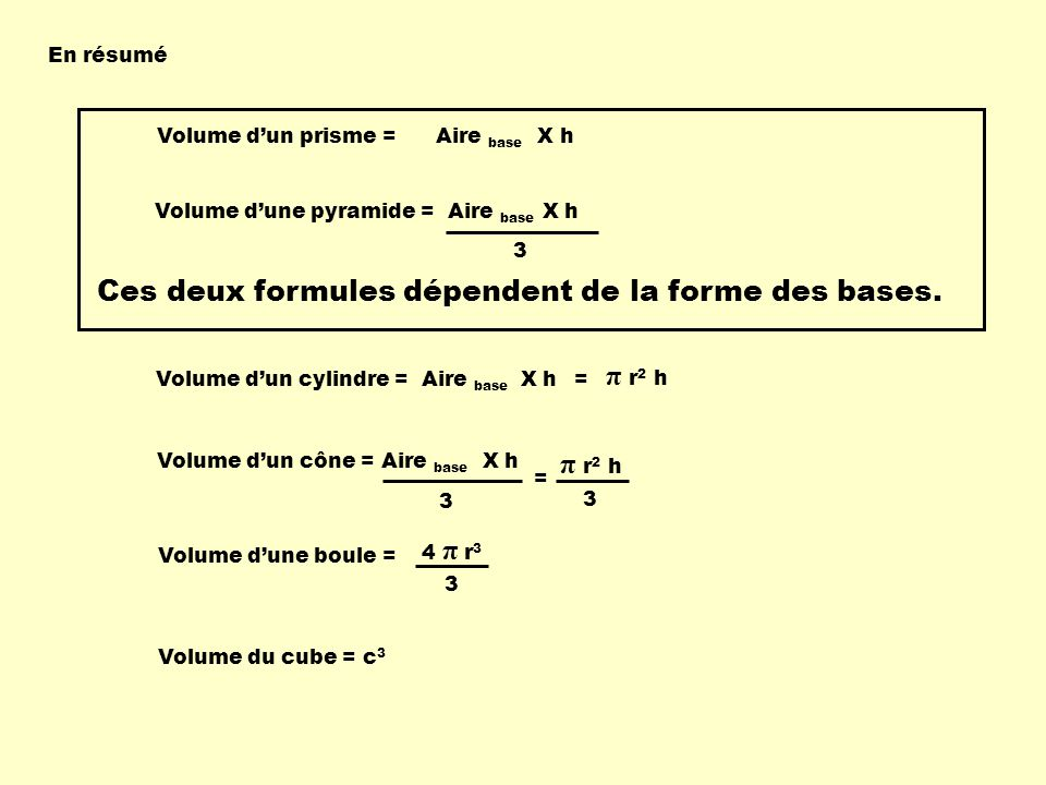 Ces deux formules dépendent de la forme des bases.