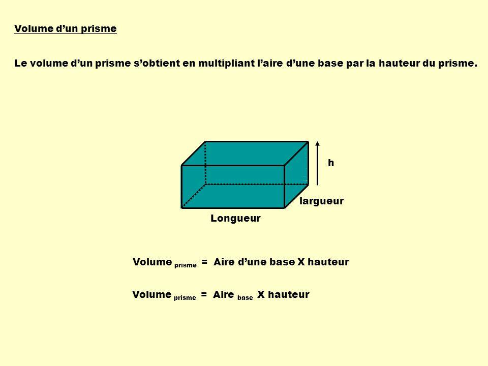 Volume d'un prisme Le volume d'un prisme s'obtient en multipliant. l'aire d'une base. par la hauteur du prisme.