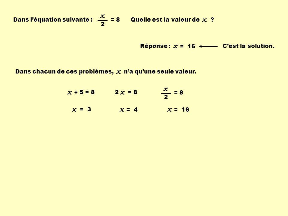 x x x x x x x x x x = 8 2 Dans l'équation suivante :