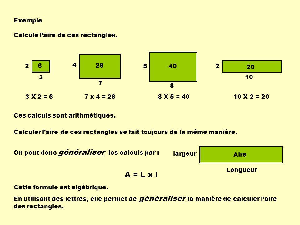 A = L x l Exemple Calcule l'aire de ces rectangles. 5 8 40 4 7 28 2 3