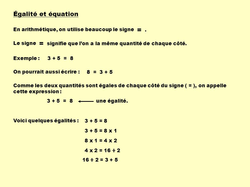 = = Égalité et équation En arithmétique, on utilise beaucoup le signe