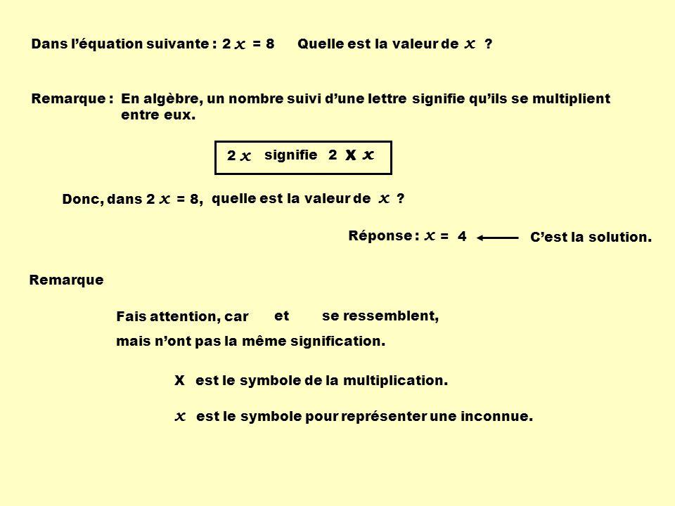 x x x x x x x x x Dans l'équation suivante : 2 = 8
