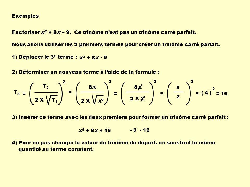 x2 + 8x x2 + 8x Exemples Factoriser x2 + 8x – 9.