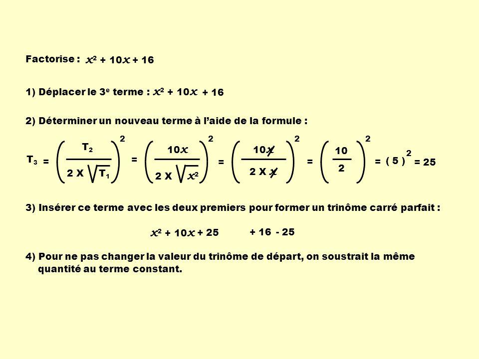 x2 + 10x + 16 x2 + 10x x2 + 10x Factorise : 1) Déplacer le 3e terme :
