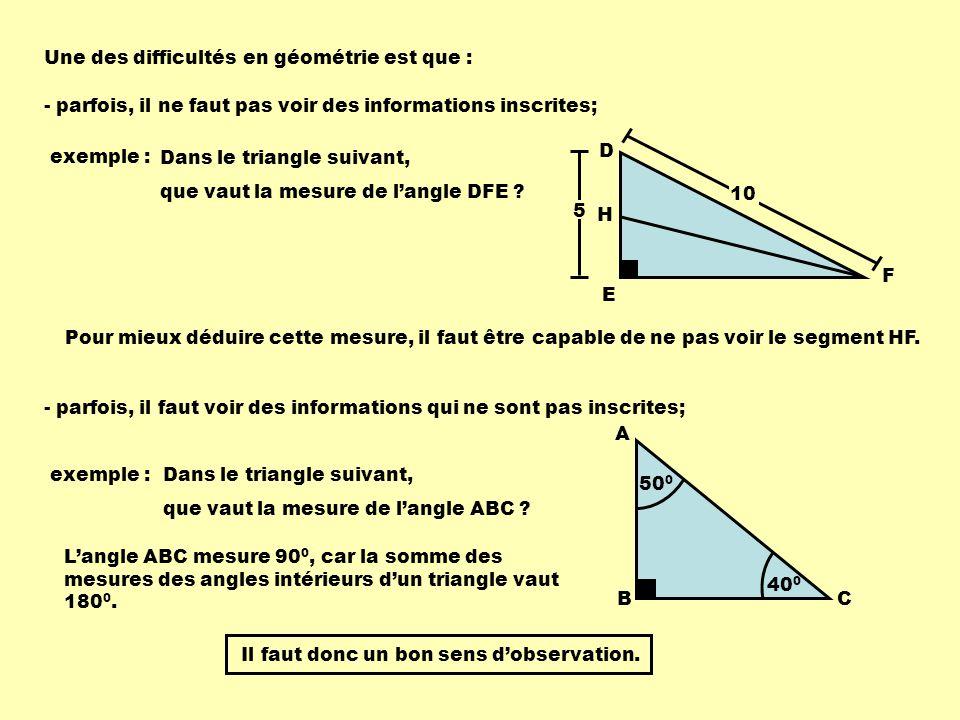 Une des difficultés en géométrie est que :