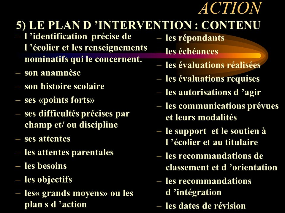 ACTION 5) LE PLAN D 'INTERVENTION : CONTENU