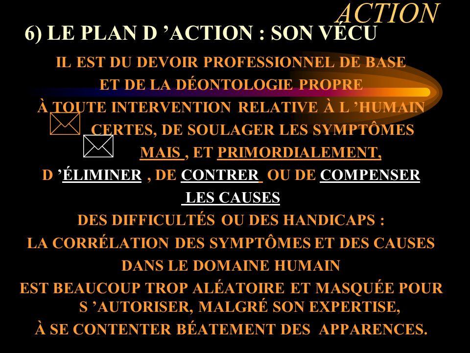 ACTION 6) LE PLAN D 'ACTION : SON VÉCU