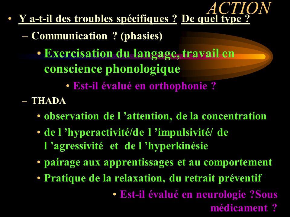 ACTION Exercisation du langage, travail en conscience phonologique