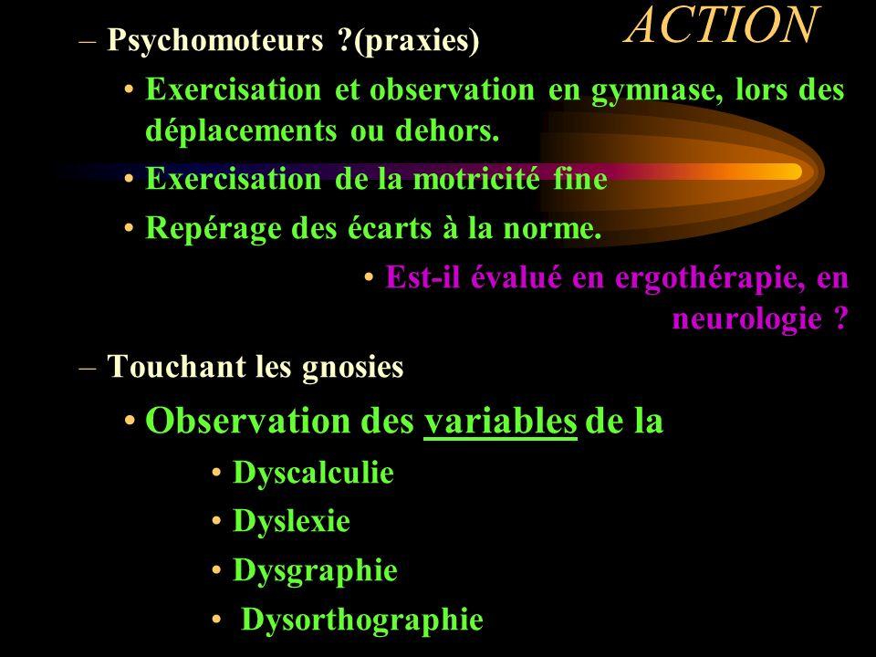 ACTION Observation des variables de la Psychomoteurs (praxies)