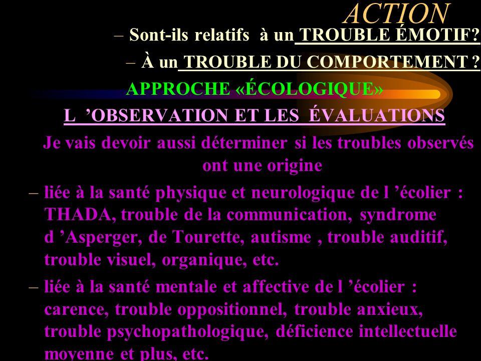 APPROCHE «ÉCOLOGIQUE» L 'OBSERVATION ET LES ÉVALUATIONS