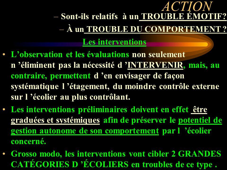 ACTION Sont-ils relatifs à un TROUBLE ÉMOTIF Les interventions